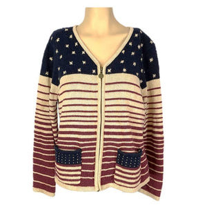 Christopher Banks Flag Sweater Zip Cardigan M